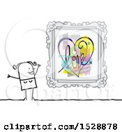 Clipart Of A Stick Woman With A Love Heart Framed Painting Royalty Free Vector Illustration
