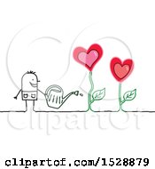 Stick Man Watering Love Heart Flowers In A Garden