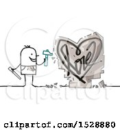 Poster, Art Print Of Stick Man Chiseling A Love Heart Design In Stone