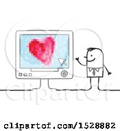 Stick Man With A Love Heart On A Computer Screen
