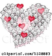 Poster, Art Print Of Heart Formed Of Stick People