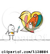 Stick Man Artist With An Abstract Colorful Love Heart