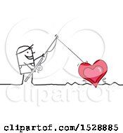 Poster, Art Print Of Stick Man Using A Fishing Pole To Reel In A Love Heart