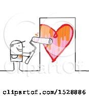 Poster, Art Print Of Stick Man Painting A Heart On A Door