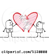 Poster, Art Print Of Stick Couple With A Broken Heart