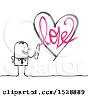 Stick Man Holding A Marker After Drawing A Love Heart