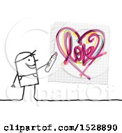 Stick Man Using A Marker To Draw A Love Heart On Graph Paper