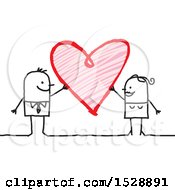 Poster, Art Print Of Stick Couple With A Scribble Heart