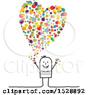 Poster, Art Print Of Stick Man With A Colorful Confetti Heart