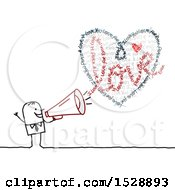Poster, Art Print Of Stick Man Using A Megaphone To Shout About Love