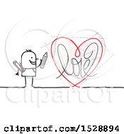 Poster, Art Print Of Stick Man Artist With A Love Heart Drawing