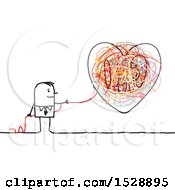 Stick Man Pulling At A String From A Heart