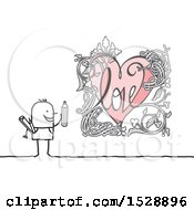 Poster, Art Print Of Stick Man With A Floral Heart Drawing