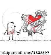 Poster, Art Print Of Tattooed Stick Man Drawing A Love Heart Design
