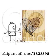 Poster, Art Print Of Stick Man Carving A Love Heart In A Tree