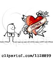 Poster, Art Print Of Stick Man Drawing A Mother Love Heart Tattoo Design