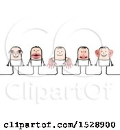 Poster, Art Print Of Line Of Stick Men With Eye Mouth Hands Nose And Ears Senses Features