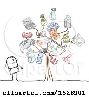 Clipart Of A Stick Man By A Tree With Pollution Icons Royalty Free Vector Illustration