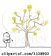 Poster, Art Print Of Stick Man By A Tree With Light Bulbs