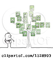 Stick Man By A Family Tree With Portraits