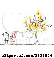 Poster, Art Print Of Stick Man Firefighter Using An Extinguisher To Put Out A Fire On A Tree