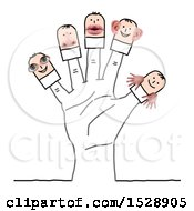 Poster, Art Print Of Hand With Stick Men With Eye Mouth Hands Nose And Ears Features