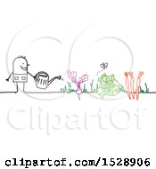 Stick Man Watering Vegetables In A Garden