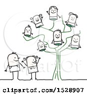 Clipart Of A Stick Parent Couple By A Family Tree With Their Children Royalty Free Vector Illustration