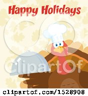 Clipart Of A Happy Holidays Greeting Over A Thanksgiving Chef Turkey Bird Holding A Cloche Platter Over Falling Autumn Leaves Royalty Free Vector Illustration