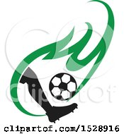 Clipart Of A Silhouetted Leg Kicking A Soccer Ball In A Green Flame Royalty Free Vector Illustration