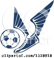 Clipart Of A Winged Shoe Kicking A Soccer Ball Royalty Free Vector Illustration