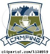 Camping Shield Design With Tents A Pot And Crossed Axes Over A Text Banner