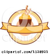 Cupcake Design With A Blank Banner