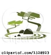 Clipart Of A Green Garden Or Park Landscape Royalty Free Vector Illustration