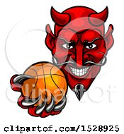 Clipart Of A Grinning Evil Red Devil Holding Out A Basketball In A Clawed Hand Royalty Free Vector Illustration by AtStockIllustration