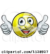 Cartoon Happy Tennis Ball Mascot Giving Two Thumbs Up