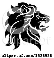 Black And White Noble Male Lion Head In Profile