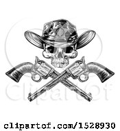Clipart Of A Cowboy Sheriff Skull Over Crossed Guns In Black And White Royalty Free Vector Illustration by AtStockIllustration