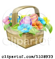 Colorful Flowers And Easter Eggs In A Basket