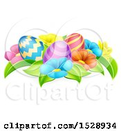Clipart Of Colorful Flowers And Easter Eggs Royalty Free Vector Illustration by AtStockIllustration