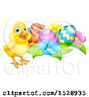 Yellow Chick With Easter Eggs And Flowers