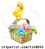 Yellow Chick On A Basket With Easter Eggs And Flowers