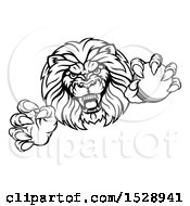 Black And White Tough Clawed Male Lion Monster Mascot Holding A Cricket Ball