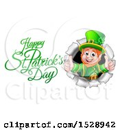 Happy St Patricks Day Greeting By A Leprechaun Giving Two Thumbs Up And Breaking Through A Wall