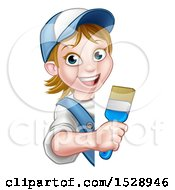 Poster, Art Print Of Cartoon Happy Female Painter Holding A Brush Around A Sign