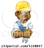 Cartoon Happy Black Male Plumber Holding An Adjustable Wrench Around A Sign
