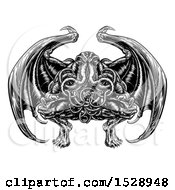 Clipart Of A Black And White Retro Woodcut Cthulhu Octopus Monster With Wings Royalty Free Vector Illustration