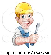 White Male Electrician Holding A Screwdriver Around A Sign