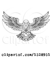 Clipart Of A Black And White Swooping American Bald Eagle With A Baseball In His Talons Royalty Free Vector Illustration