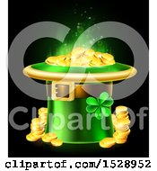 Clipart Of A St Patricks Day Leprechaun Hat Full Of Gold Coins On A Black Background Royalty Free Vector Illustration by AtStockIllustration